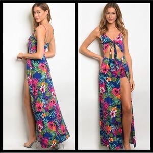 Tropical cut out maxi dress romper